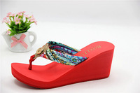 summer sandals for women new 2014 hot sell   High heels flip-flops flip flops sandbeach women shoes