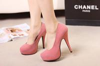 Ultra high heels round toe fashion spring fashion sexy black high-heeled platform shoes ultra high heels single shoes