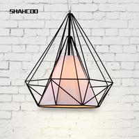American wrought iron diamond pendant light hanging wire lighting