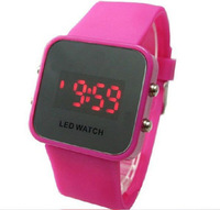 Wholesale Free Shipping Fashion LED Digital Mirror Watch Silicone Candy Wristwatches 12 colors 500PCS/lot