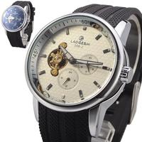 Brand LAOGESHI wristwatch, fashion Auto Mechanical 24hrs 5 Hand rubber strap Luxury Men's Mechanical Watch