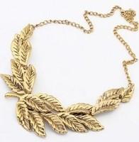 X251 vintage necklace gold leaf short design elegant necklace fashion necklace necklaces & pendants new 2014 necklace women