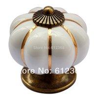 Free Shipping 10pcs Ceramic Pumpkin Shape Door Drawer Dresser Pull Knob Cabinet Cupboard Handle-White