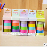 Free shipping (1 Lot = 4pcs) Decorative Washi Rainbow Sticky Paper Masking Adhesive Tape Scrapbooking DIY for School