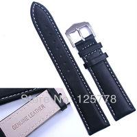 20 mm BLACK Frist Skin Leather Watch Band White Stitch Waterproof Bracelet Soft Band Strap SS Buckle Free Shipping Worldwide