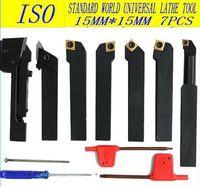 Free shipping ISO International  indexable carbide  turning Lathe tool Plating titanium blade 15mm*15mm/7pcS kit cutter