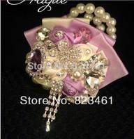 Free Shipping Handmade 2014 Super Beautiful Bride Wrist Flower Bridal Bridesmaid Shiny Brooch Wrist Flower 2
