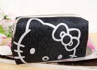 Black ground Silver  cat head Hello Kitty cat head elegant makeup bag /Pocket money bag