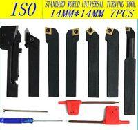 Free shipping ISO International  indexable carbide  turning Lathe tool Plating titanium blade 14mm*14mm/7pcS kit cutter