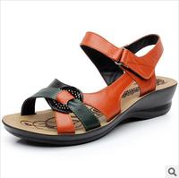 2014 Summer Fashion Sandals Women Genuine Leather Comfortable Sandals Shoes Open Toe Women Cowhide Wedges Mom's Women's Sandals