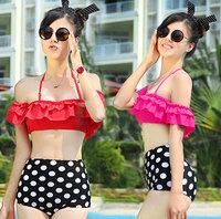 Women's Sexy Retro Pinup Rockabilly Vintage High Waist Push Up Bikini set Polka Dot Swimsuit Swimwear 2014new brand Beachwear