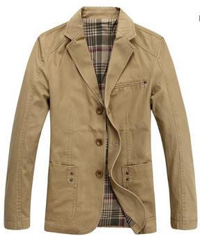 2014 new Men's full cotton long-sleeved suit plus size 4XL 5XL 6XL 7XL Army green Khaki jacket men spring coat outerwear OT1396(China (Mainland))
