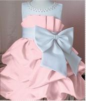 1 pcs/lot NEW Arrival 2014 children dress girls High-grade Princess dress chiffon Big bowknot dresse for summer