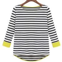Clothing 2014 spring slim o-neck t-shirt female spring and summer fashion patchwork stripe basic shirt