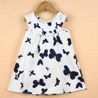 Retail Girls Dress New Designer 100% cotton 2014 summer butterfly print dress girls summer baby girls child dress
