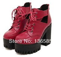 Free shipping Red  2014 Womens Punk Gothic Lace Up Chunky Heels High Platform Ankle Boots shoes  Eur35 Eur36 Eur37 Eur38 Eur39