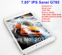"2PCS DHL Free 3G Phone Call 7.85"" Tablet PC Sanei G785 Qualcomm Quad Core Andrioid 4.1 1GB RAM 16GB ROM GPS 1024*768 (White)"