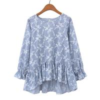 Free shipping 2014 spring women's o-neck long-sleeve fresh print gentlewomen cute shirt female ai213