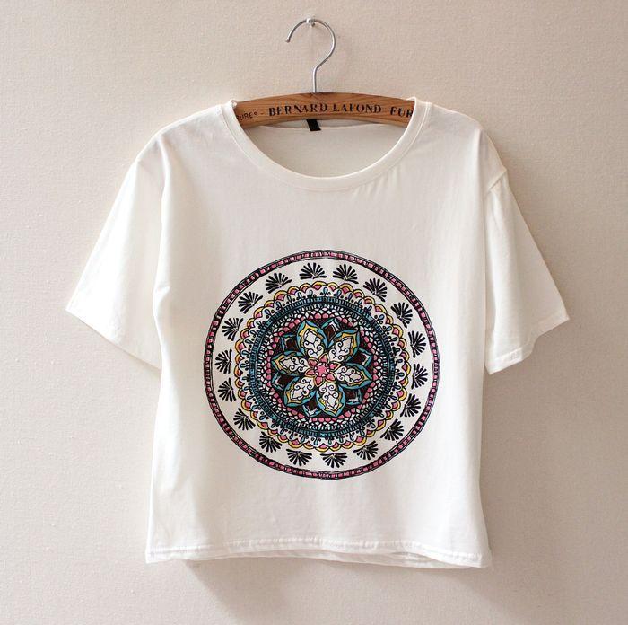 new women short paragraph circles retro flower ladies cotton t shirt,cotton blouse female tee tops clothing 9335(China (Mainland))