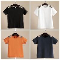EMS DHL free shipping boys Girls Kids Children Checker Cotton Summer Short Sleeve Plaid T Shirt Casul Children Clothing 4 Colors