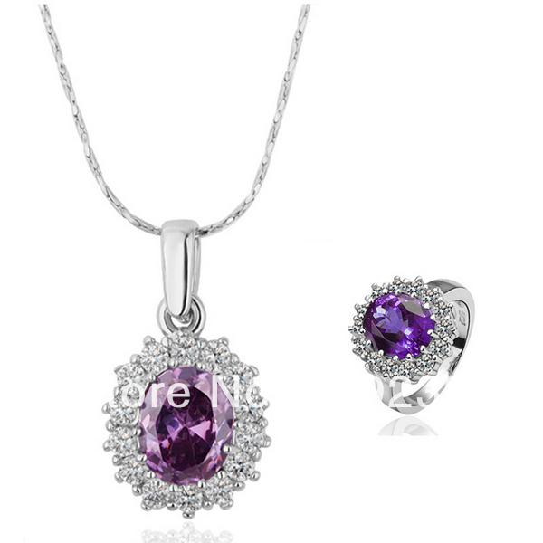 LS132 Fashion 18K White Gold Plated Purple Crystal Zircon Pendant Necklace Ring Women's Imitation Diamond Pave Jewelry Sets(China (Mainland))