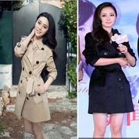 2013 fashion autumn and winter women british style classic double breasted trench medium-long