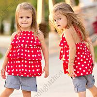 Retail- New 2014 chiffon Polka Dot Halter t shirt + jeans Shorts girls summer baby shorts clothing set 2 pc set lxm 002 4