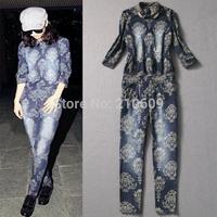 2013 fashion autumn and winter women jacquard cotton jumpsuit jumpsuit