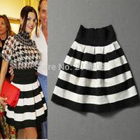 2013 autumn women's fashion black and white color block decoration color block all-match short skirt