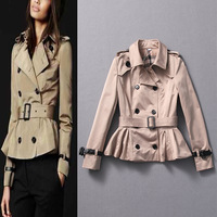 2013 autumn and winter women b fashion turn-down collar double breasted ruffle hem short design trench outerwear