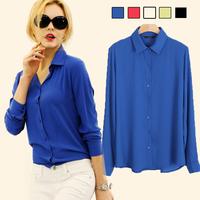 2015 spring autumn women chiffon blouse long-sleeve chiffon blouses women's casual blusas free shipping 15