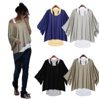 Women Lady Loose Twinset Vest Shirt Tops Batwing Sleeve T Shirts