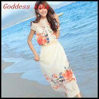 Summer Big Flower Printed Maix Long Party Dresses Women Bohemian Style Ankle-Length Chiffon Long Dress free shipping A046