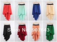 2014 NEW Women's Asymmetrical Soft Chiffon Skirt Knee high length Bohemian Princess Pleated Long Maxi Dance Skirts 8 colors