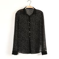 2014 Retro European Style Printing fashion black leopard print turn-down collar long-sleeve women chiffon shirt ,Free shipping