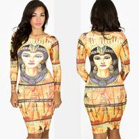 Sexy Women Vintage Egyptian Queen Print Nefertiti Cleopatra Long Sleeve O-Neck Bodycon Midi Party Dress