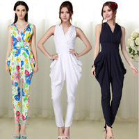 New 2014 summer fashion casual Jumpsuit sleeveless elegant blue, white, print jumpsuit women overalls big size rompers 1J012