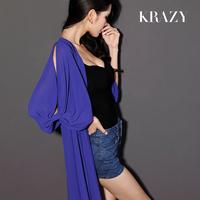 Krazy fresh small bow sexy cutout sleeve clothing elegant chiffon long cardigan 527