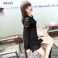 Krazy temptation sexy sweet lace perspective patchwork chiffon long shirt design dress 1014