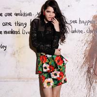 Elegant thin krazy temptation gauze perspectivity patchwork lace charming vintage lace shirt 789
