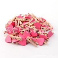 100Pcs/Lot Cute Wooden Mini pink Heart Shape Clip Photo paper postcard paper Clips pegs Wedding Party Decoration 30mm Wholesale