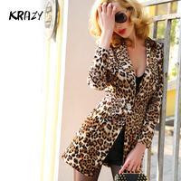 Krazy 2014 spring elegant velvet waist slim medium-long vintage shoulder pads slim leopard print suit 6105