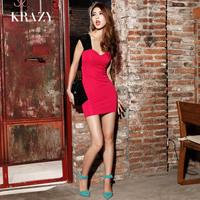 Krazy fashion vintage elegant lace patchwork color block sexy low-cut V-neck slim hip 735 one-piece dress