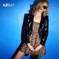 Krazy 2014 japanned leather cool pads slim short design patent leather suit 6026