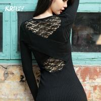 Krazy temptation 2014 lace slim sexy perspective patchwork long-sleeve slim hip knit dress 6215