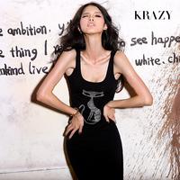 Krazy rhinestones pattern modal slim vest full dress one-piece dress 6034