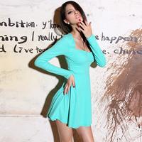 Krazy vintage hepburn classic sexy low-cut u high waist solid color knit dress pleated one-piece dress 678