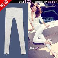 White 9 jeans zipper pencil skinny pants female slim bag
