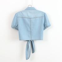 Female waistcoat plus size denim outerwear thin water wash all-match small cape short-sleeve tieclasps cardigan