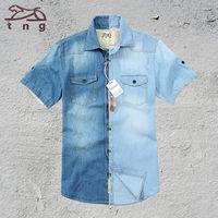 Male short-sleeve casual denim shirt fashion slim water wash denim shirt